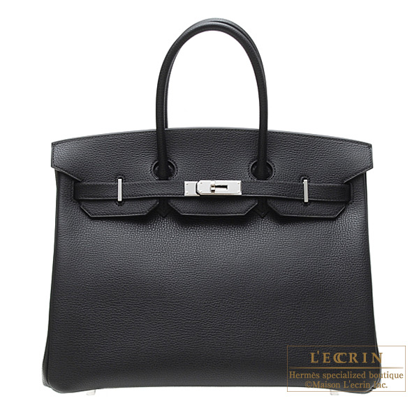Hermes Birkin bag 35 Black Vache liegee leather Silver hardware