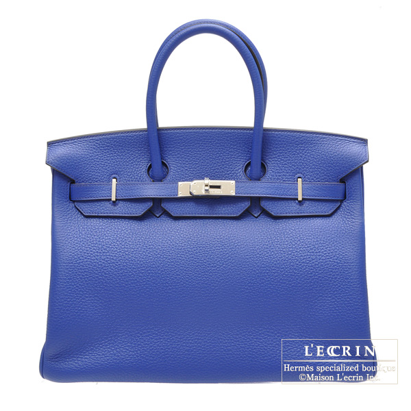 Hermes Birkin bag 35 Blue Electric/Blue Electric Clemence leather Silver hardware