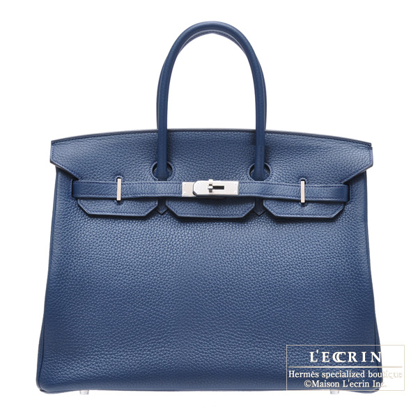 Hermes Birkin bag 35 Blue de malte/Dark blue Togo leather Silver hardware