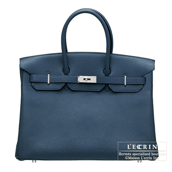 Hermes Birkin bag 35 Blue de presse/Dark blue Togo leather Silver hardware