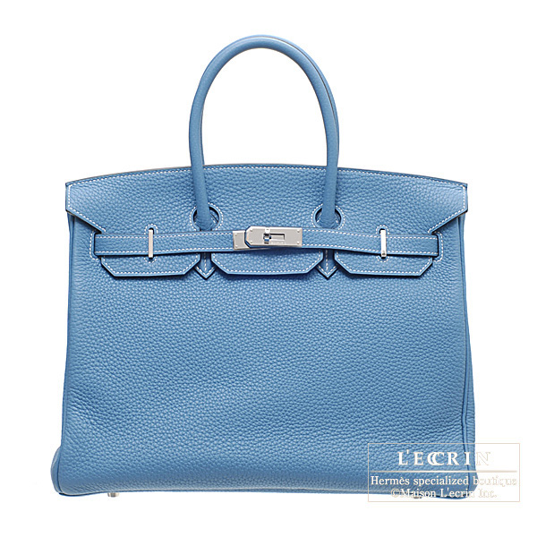 Hermes Birkin bag 35 Blue jean Clemence leather Silver hardware