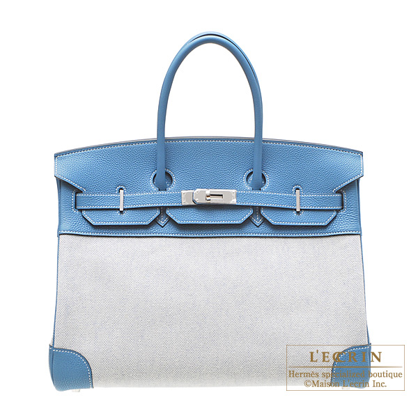 Hermes Birkin bag 35 Blue jean Cotton canvas with togo leather Silver hardware