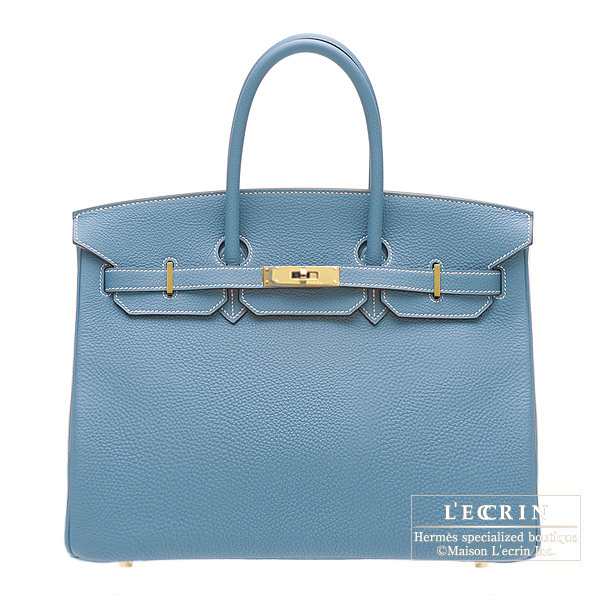 Hermes Birkin bag 35 Blue jean Togo leather Gold hardware