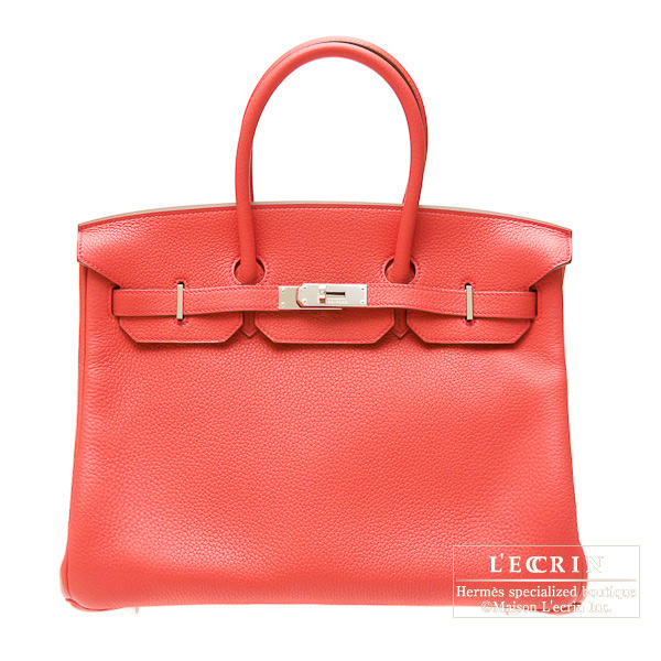 Hermes Birkin bag 35 Bougainvillier Clemence leather Silver hardware