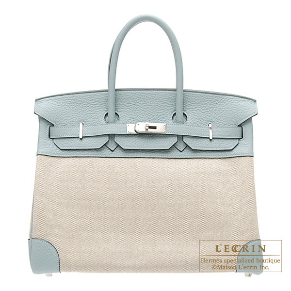 Hermes Birkin bag 35 Ciel/Sky blue Cotton canvas with clemence leather Silver hardware
