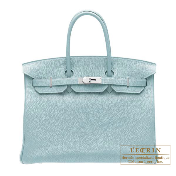 Hermes Birkin bag 35 Ciel/Sky blue Togo leather Silver hardware