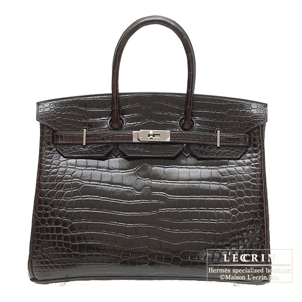 Hermes Birkin bag 35 Cocaon/Dark brown Porosus crocodile skin Silver hardware