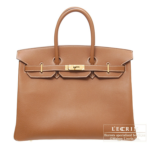 Hermes Birkin bag 35 Cognac Epsom leather Gold hardware