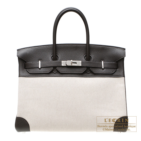 Hermes Birkin bag 35 Ebene/Ebony Cotton canvas with clemence leather Silver hardware