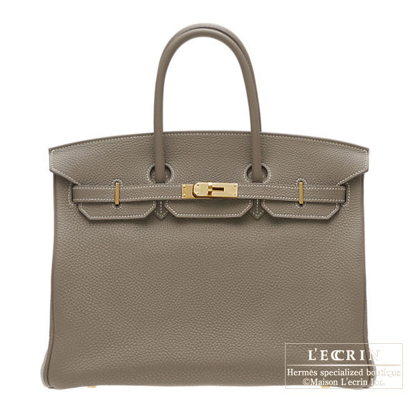 Hermes Birkin bag 35 Etoupe/Taupe grey Togo leather Gold hardware