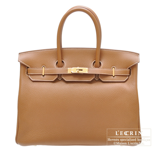 Hermes Birkin bag 35 Gold Clemence leather Gold hardware