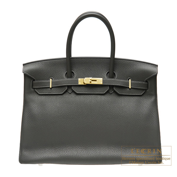 Hermes Birkin bag 35 Graphite Clemence leather Gold hardware