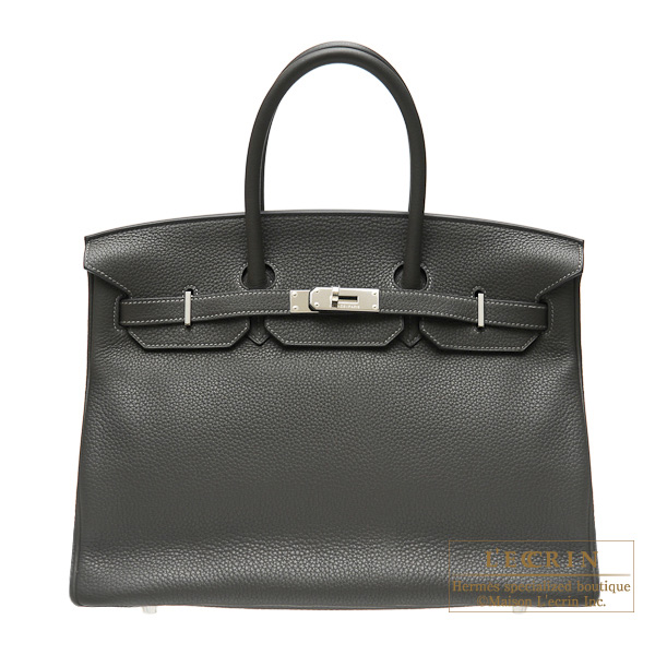 Hermes Birkin bag 35 Graphite Clemence leather Silver hardware