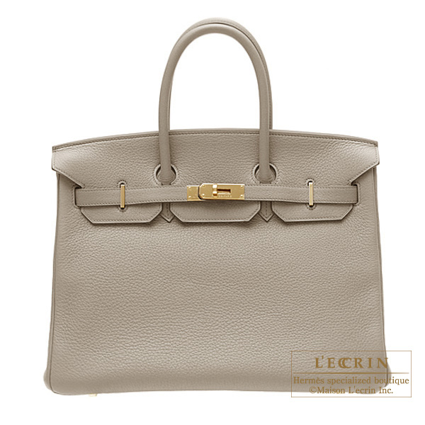 Hermes Birkin bag 35 Gris tourterelle/Mouse grey Clemence leather Gold hardware