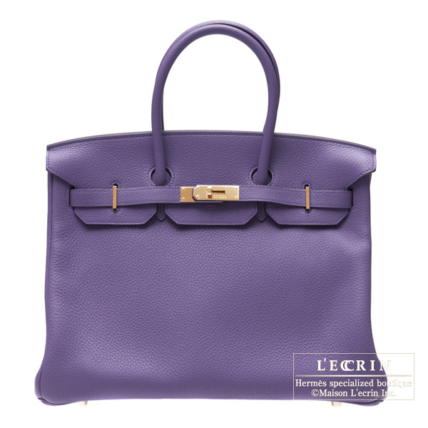 Hermes Birkin bag 35 Iris Clemence leather Gold hardware