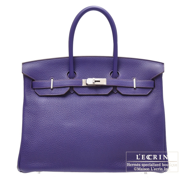 Hermes Birkin bag 35 Iris Clemence leather Silver hardware
