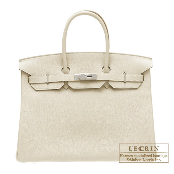 Hermes Birkin bag 35 Pearl Grey/Pearl Grey Togo leather Silver hardware