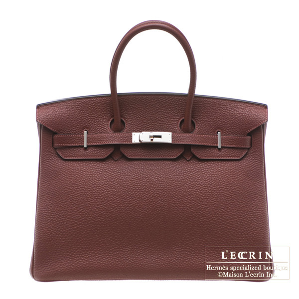 Hermes Birkin bag 35 Rouge H/Dark red Clemence leather Silver hardware