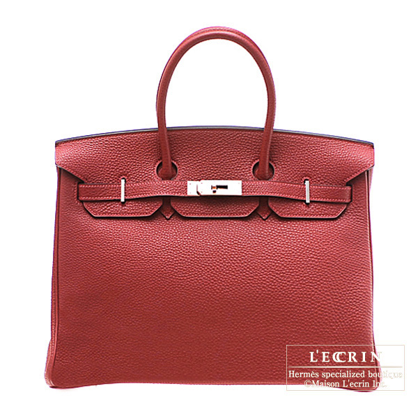 Hermes Birkin bag 35 Rouge garance/Bright red Togo leather Silver hardware