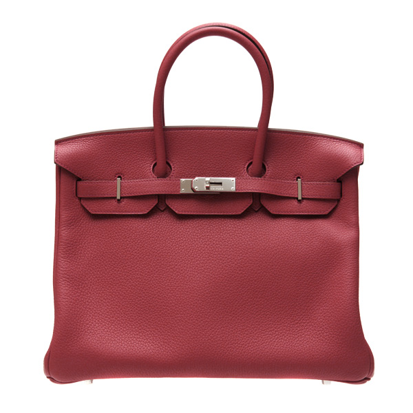 Hermes Birkin bag 35 Ruby Togo leather Silver hardware