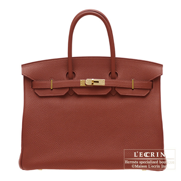 Hermes Birkin bag 35 Sienne/Sienna Togo leather Gold hardware