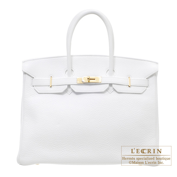 Hermes Birkin bag 35 White Clemence leather Gold hardware