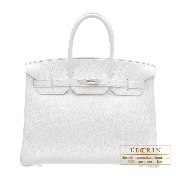 e14f58b833 ... ebay hermes birkin bag 35 white clemence leather silver hardware 49958  d6843