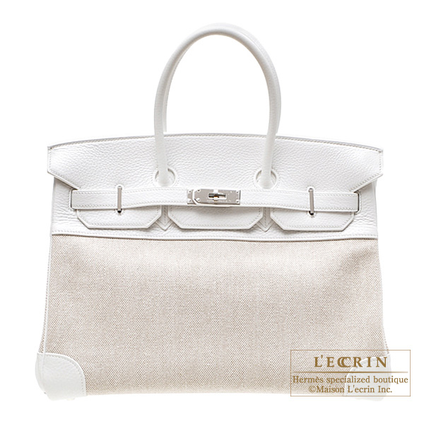 Hermes Birkin bag 35 White Cotton canvas with clemence leather Silver hardware