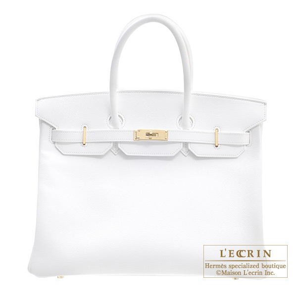 Hermes Birkin bag 35 White Epsom leather Gold hardware