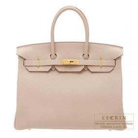 Hermes Birkin bag 35 Argile beige Clemence leather Gold hardware
