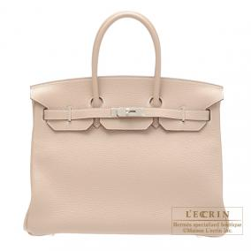 Hermes Birkin bag 35 Argile beige Clemence leather Silver hardware