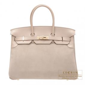 Hermes Birkin bag 35 Argile beige Grizzly leather with Swift leather Champagne Gold hardware
