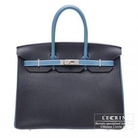 Hermes Birkin bag 35 Bi-color Blue De Malte/Bleu Jean Togo leather Silver
