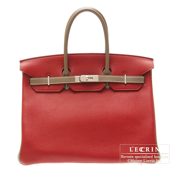 Hermes Birkin bag 35 Bi-color Bright red/Etoupe Clemence leather Silver hardware