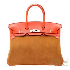 Hermes Birkin bag 35 Bi-color Capucine/Chamois Swift leather with Grizzly leather Champagne Gold har