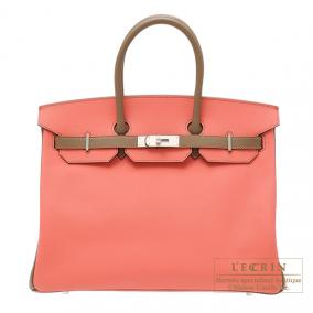 Hermes Birkin bag 35 Bi-color Flamingo/Etoupe Epsom leather Mat Silver hardware