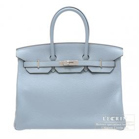 Hermes Birkin bag 35 Bleu lin/Linen blue Clemence leather Silver hardware