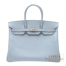 Hermes Birkin bag 35 Bleu lin/Linen blue Epsom leather Silver hardware