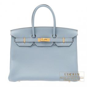 Hermes Birkin bag 35 Bleu lin/Linen blue Togo leather Gold hardware