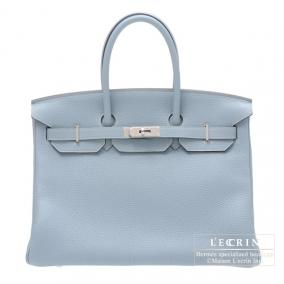 Hermes Birkin bag 35 Bleu lin/Linen blue Togo leather Silver hardware