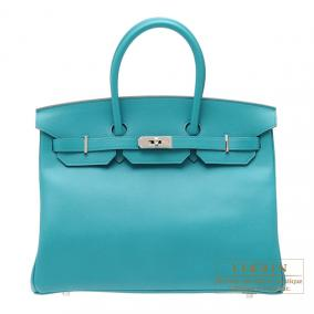 Hermes Birkin bag 35 Blue paon Epsom leather Silver hardware