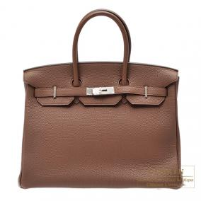 Hermes Birkin bag 35 Brulee/Brulee brown Togo leather Silver hardware