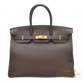 Hermes Birkin bag 35 Cacao/Cacao brown Clemence leather Gold hardware
