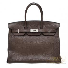 Hermes Birkin bag 35 Cacao/Cacao brown Clemence leather Silver hardware