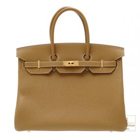 Hermes Birkin bag 35 Kraft/Kraft beige Clemence leather Gold hardware