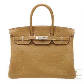 Hermes Birkin bag 35 Kraft/Kraft beige Clemence leather Silver hardware