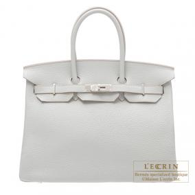 Hermes Birkin bag 35 Pearl Grey/Pearl Grey Clemence leather Silver hardware