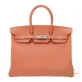 Hermes Birkin bag 35 Rose the laiton/Rose tea Clemence leather Silver hardware