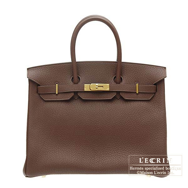 Hermes Birkin bag 35 Terre/Dark brown Fjord leather Gold hardware