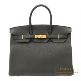 Hermes Birkin bag 35 Vert gris/Green grey Togo leather Gold hardware